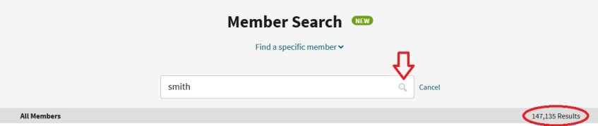 how to search for ancestry members by name