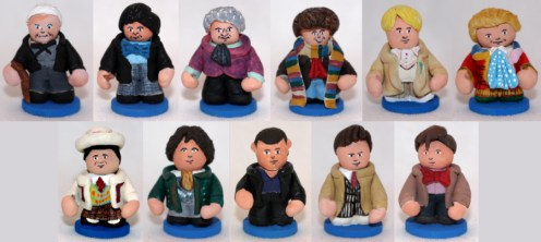 The Doctors 1 through 11 chess pieces for custom Doctor Who chess set.