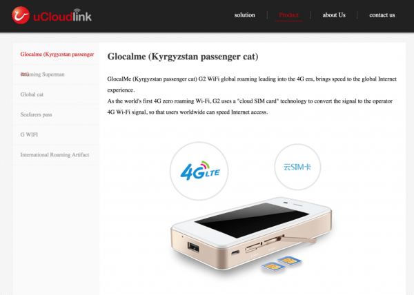 The glocalme product being listed on uCloudLink's website, http://ucloudlink.com/ukl_product.html