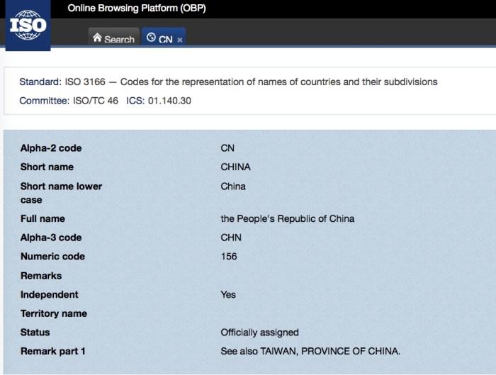 中國的編號:https://www.iso.org/obp/ui/#iso:code:3166:CN