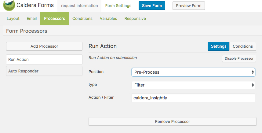 Run Action Processor Settings