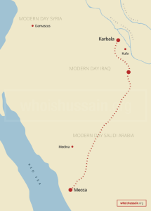 Map of Hussain ibn Ali's journey from Mecca to Karbala