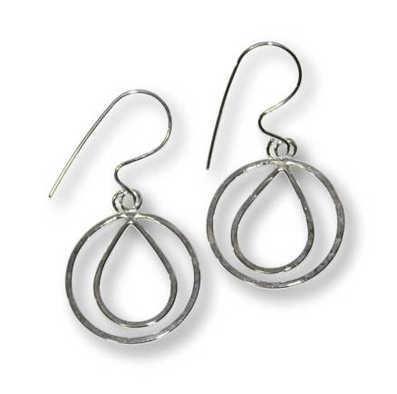 Windsong Jewellery Design Argentium Silver Encircled Raindrop Earrings