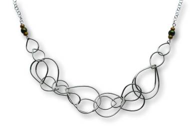 Windsong Jewellery Design Argentium Silver Multi Raindrop Necklace Wire-Wrapped Freshwater Pearls