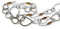 Windsong Jewellery Design Argentium Silver Raindrop Station Chain Necklace Wire-Wrapped Gemstones