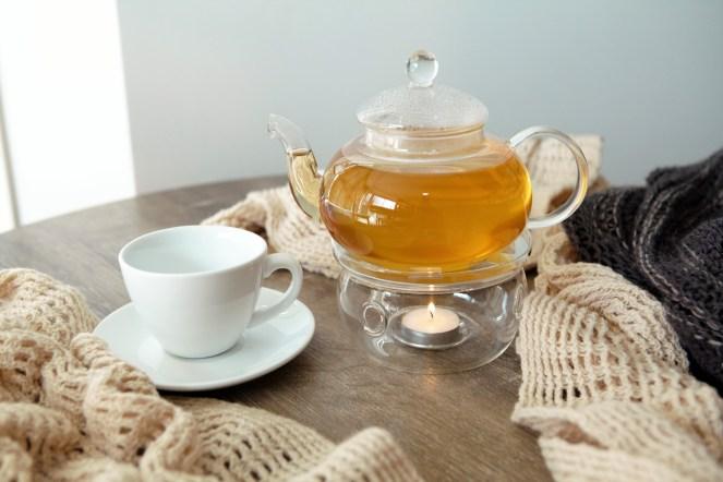 Glass teapot and Kmart teacup and saucer http://whoknewiwasahousewife.com/