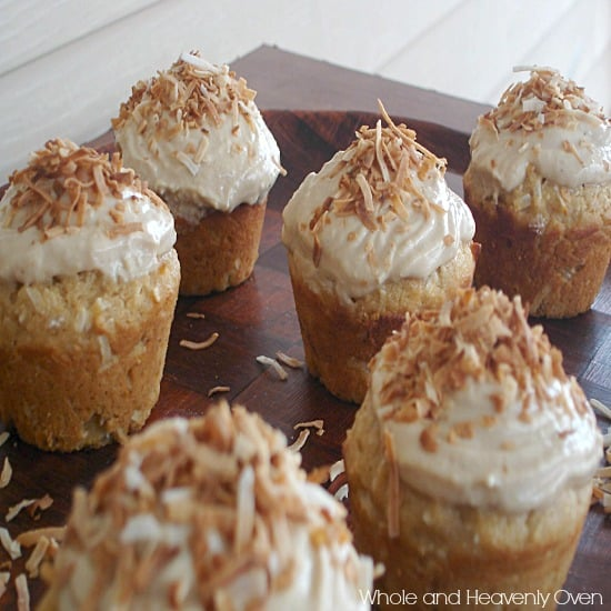 Yellow Coconut Cupcakes With Cream Cheese Frosting