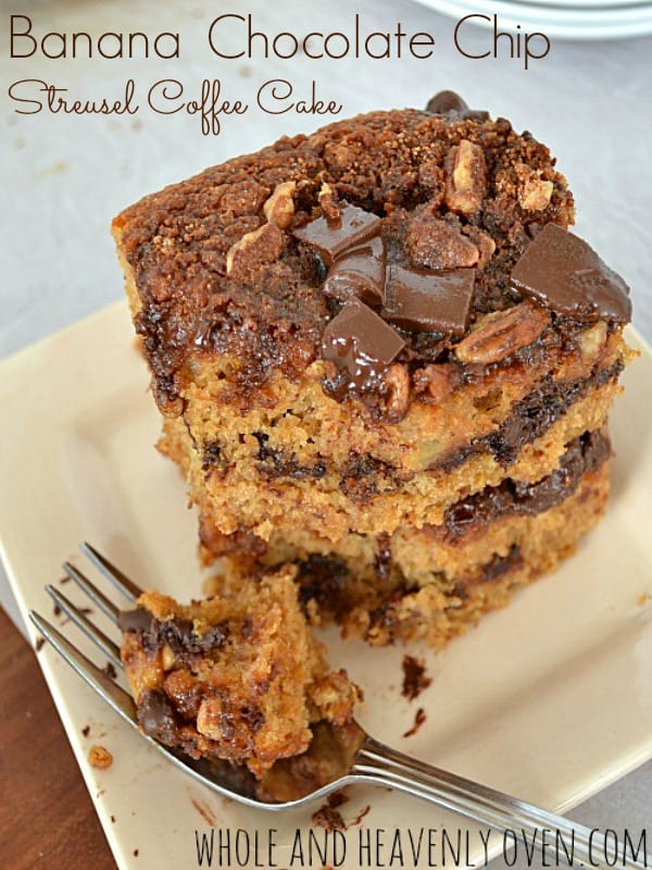 Banana Chocolate Chip Streusel Coffee Cake |  wholeandheavenlyoven.com