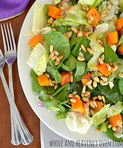 Butternut Squash Salad With Maple-Dijon Vinaigrette | wholeandheavenlyoven.com