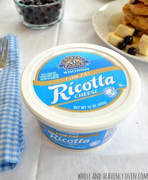 Blueberry Ricotta Pancakes   wholeandheavenlyoven.com