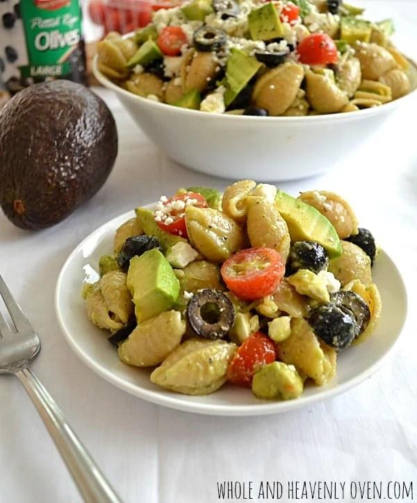 Greek Avocado Pasta Salad | wholeandheavenlyoven.com