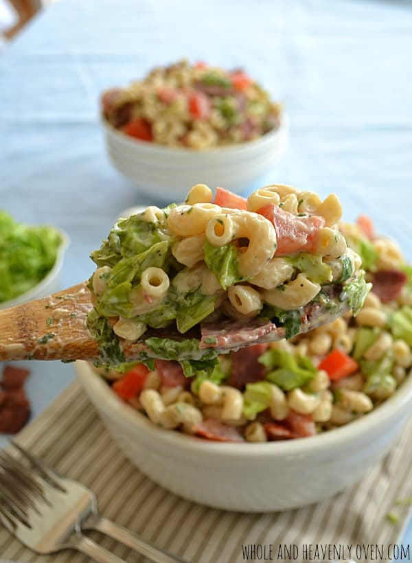 BLT Pasta Salad With Herb Ranch Dressing | wholeandheavenlyoven.com