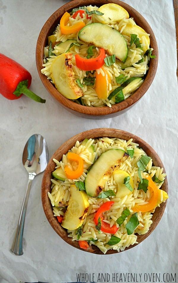 Grilled Veggie Orzo Pasta Salad | wholeandheavenlyoven #salads #healthy