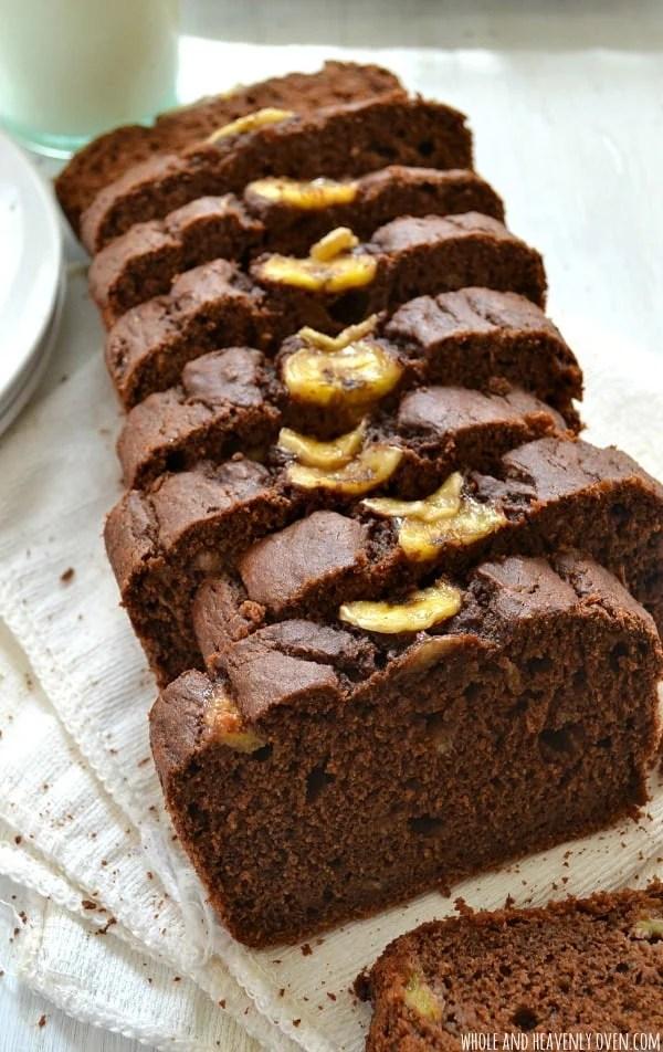 Chocolate Banana Brownie Bread   wholeandheavenlyoven.com