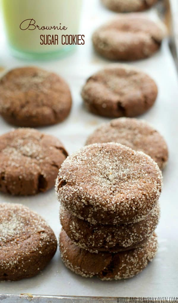 These simple holiday cookies are quick to whip up and even more fun to eat! Loaded with chocolate and generously rolled in sugar, you'll think you're biting into a big 'ol brownie! @WholeHeavenly