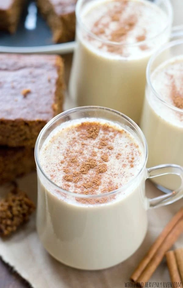 Whip up your own homemade eggnog this year with this quick, 10-minute recipe. You won't believe how much better it is than storebought! @WholeHeavenly