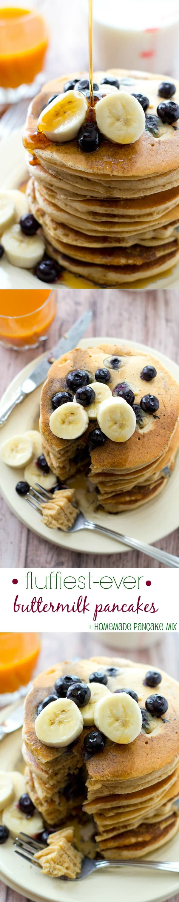These simple buttermilk pancakes have an unbelievably fluffy texture and are perfect for Sunday brunch! PLUS make your own homemade pancake mix for the pantry! @WholeHeavenly