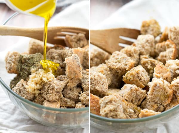 Learn how to make your own croutons to perk up that lunch salad! Perfectly crisp and crunchy and filled with garlicky-herb flavors.  @WholeHeavenly