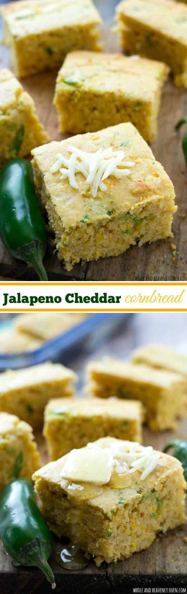 This kickin' cornbread is packed with plenty of jalapeno heat and loaded with lots of melty cheddar cheese---perfect alongside hot bowls of chili for the Superbowl! @WholeHeavenly