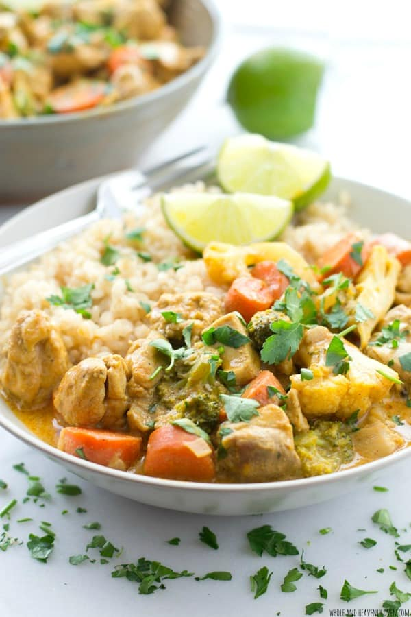 Homemade chicken curry has never been simpler with this simple, foolproof recipe that cooks up in only 30 minutes.---SO much flavor loaded into this comforting, veggie-filled curry! @WholeHeavenly