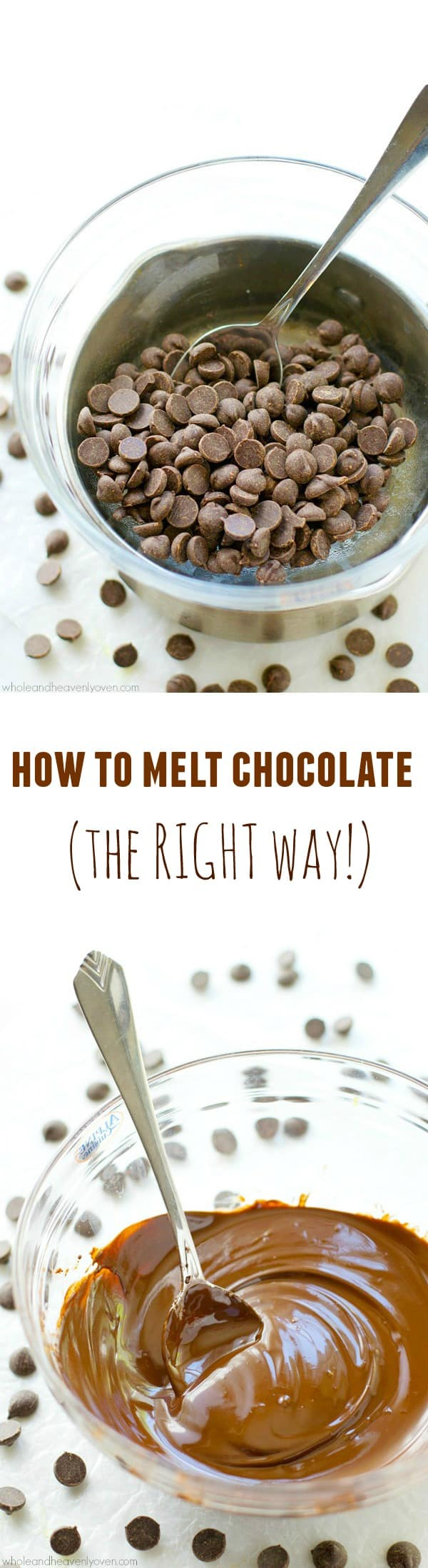 Learn how to melt chocolate perfectly every time with this easy tutorial. All you'll need is a saucepan, a bowl and all the chocolate you desire! @WholeHeavenly