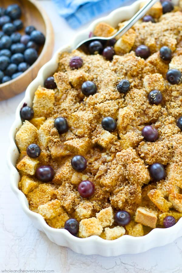 You've just found your new favorite breakfast! This simple overnight blueberry french toast bake is unbelievably moist inside, loaded with berries and covered every inch in an irresistible buttery streusel! @WholeHeavenly