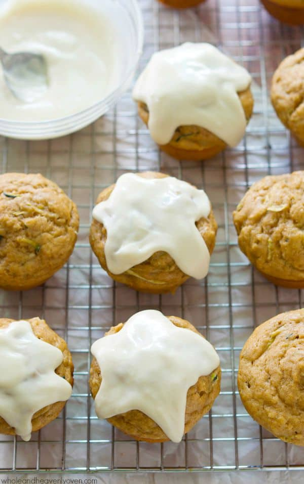 These super-soft zucchini muffins are exploding with banana flavor and covered every inch in an irresistible cream cheese glaze.---no one will ever guess they're healthy!