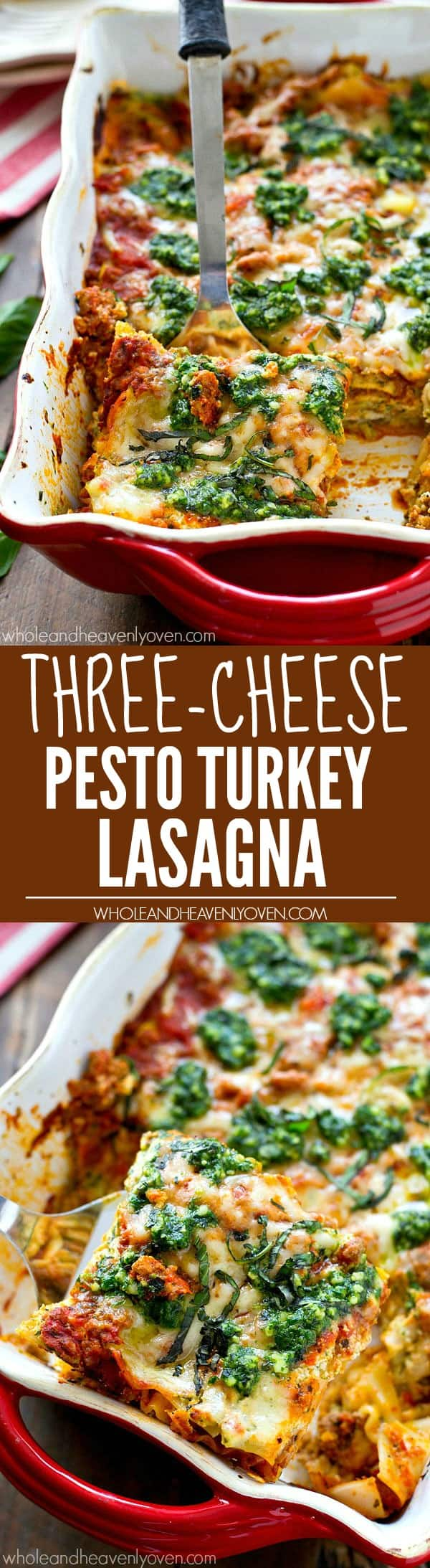 This ultra-cheesy turkey lasagna is real-deal comfort food! Loaded with a triple-whammy of cheese, lots of flavorful pesto, and guaranteed to make those weeknight dinners awesome.