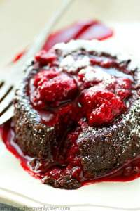 Exploding with a warm, gooey chocolate filling, and covered in a tangy raspberry sauce, these stunning chocolate lava cakes are the perfect treat for you and your sweetheart!