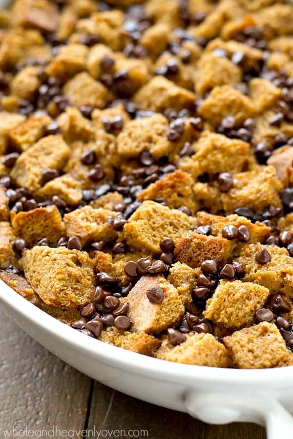 Ultra-moist coffee-spiked bread pudding is a match made in heaven with chocolate and a heavenly homemade caramel rum sauce.---A coffee-lover's dream dessert!