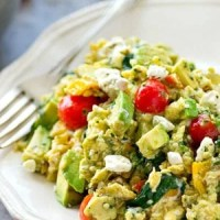 Garden Veggie Pesto Scrambled Eggs