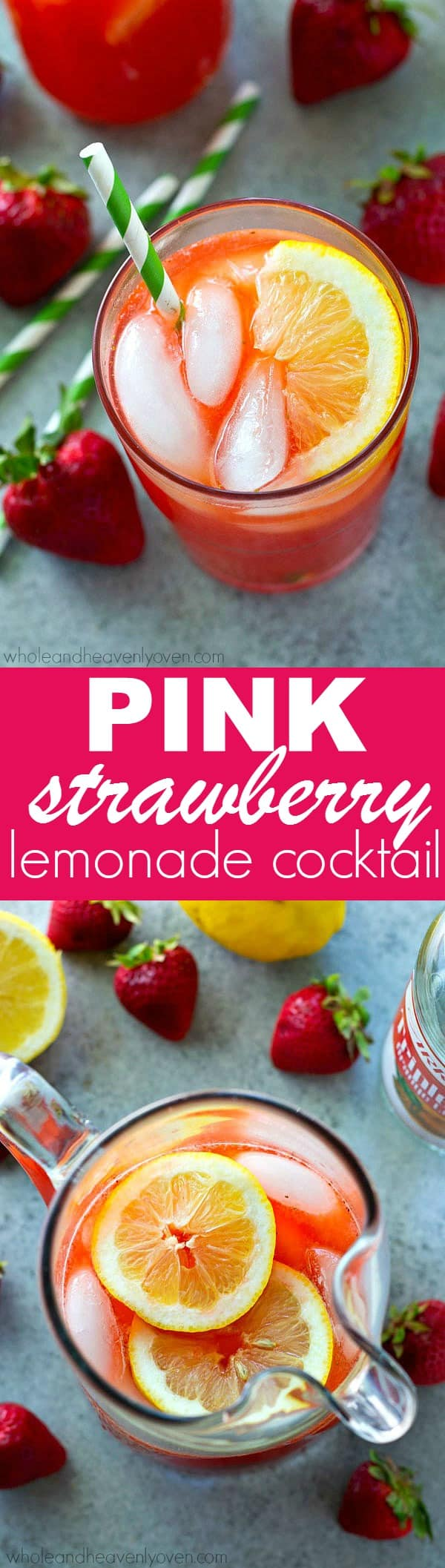 Classic pink strawberry lemonade with a fun boozy kick that you are absolutely going to love! This easy cocktail is a breeze to whip up and is quickly going to become your favorite summer sipper!