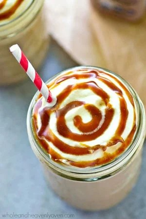 Love the caramel frappuccinos from Starbucks? Save calories AND build up on protein with this lighter caramel mocha frappuccino that uses a homemade caramel syrup for maximum decadent flavors!