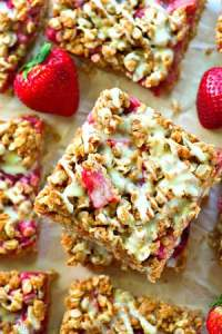 These summery crumb bars are packed with juicy strawberries, TONS of oatmeal streusel and glazed to perfection with a luscious browned butter glaze.---you'll be eating every last crumb!