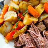 Balsamic Pot Roast with Caramelized Onions + Potatoes