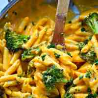 Butternut Squash Roasted Broccoli Alfredo Penne Skillet