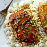 Skillet Teriyaki Salmon with Gingered Rice