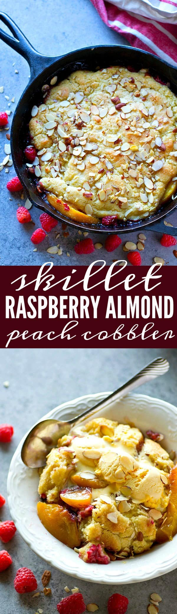 Juicy peaches and raspberries are topped with a cookie-like almond topping and it's all baked in your skillet! This raspberry almond peach cobbler is seriously the best summer dessert ever.