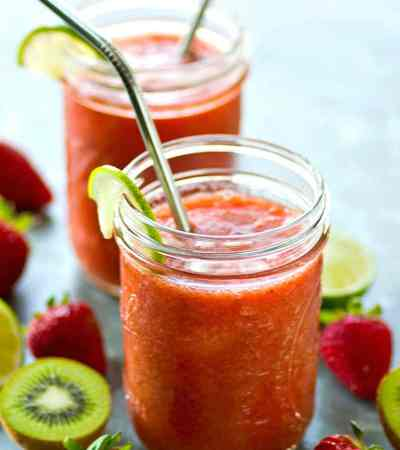 Juicy strawberries and tangy kiwi are the perfect match in these refreshing strawberry kiwi agua fresca cocktails. Make a huge pitcher for the perfect night of summer sipping!