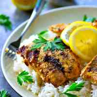 Tandoori Grilled Salmon with Lemon Basmati Rice