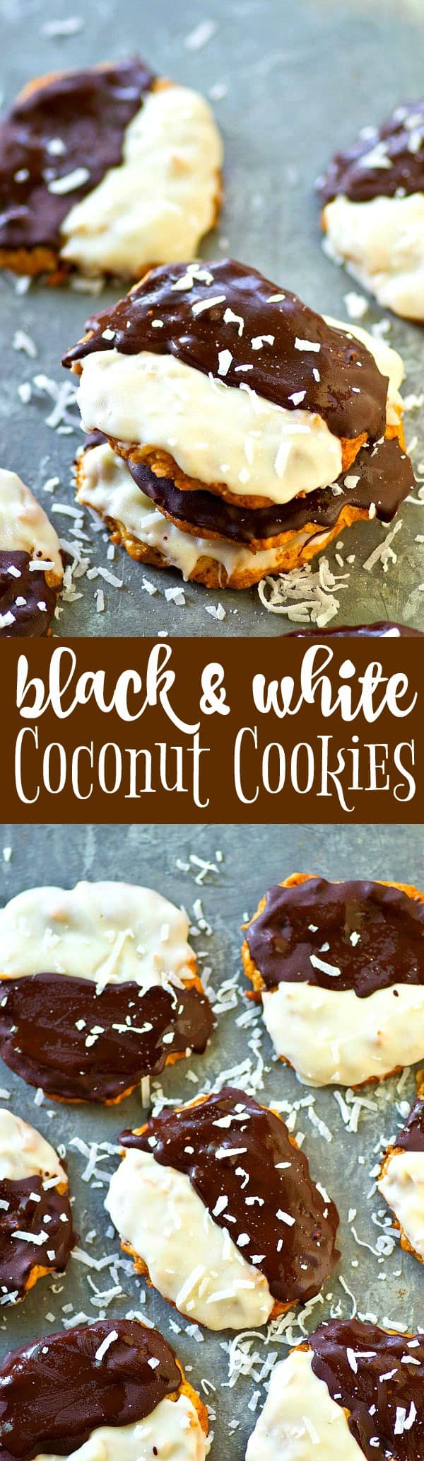 Crisp, chewy coconut cookies are dipped half in semisweet chocolate and half in white chocolate and the result is a batch of GORGEOUS black and white coconut cookies perfect for a fancier event.