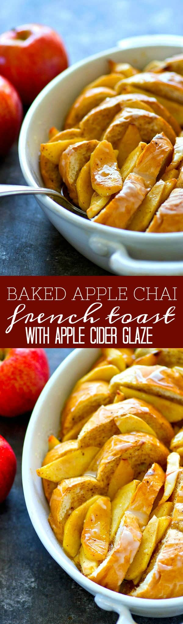 Baked with tender apples, tons of chai spices, and covered in an apple cider glaze, this baked apple chai french toast is one fall breakfast you don't wanna miss out on!