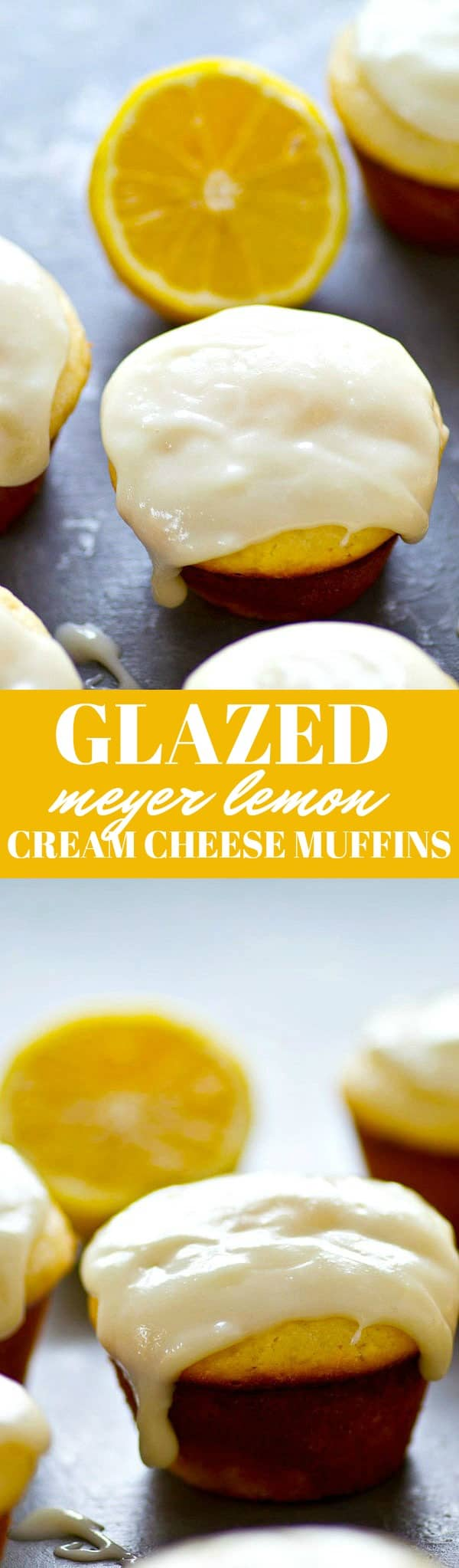 Lots of fresh lemon and tangy cream cheese are a DREAM combo in these Meyer lemon cream cheese muffins! Top these beauties off with lots of cream cheese glaze.