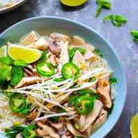 Shiitake Mushroom Roast Chicken Pho - Authentic Vietnamese pho is SO worth making at home for a date night and makes tons of awesome leftovers!