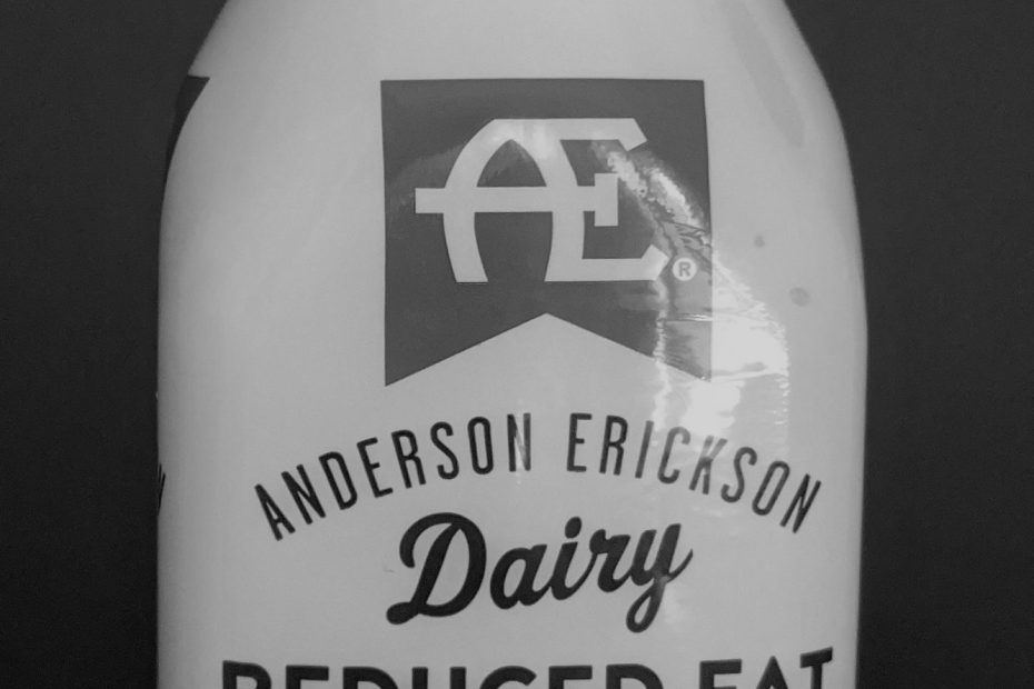 A bottle of AE chocolate milk