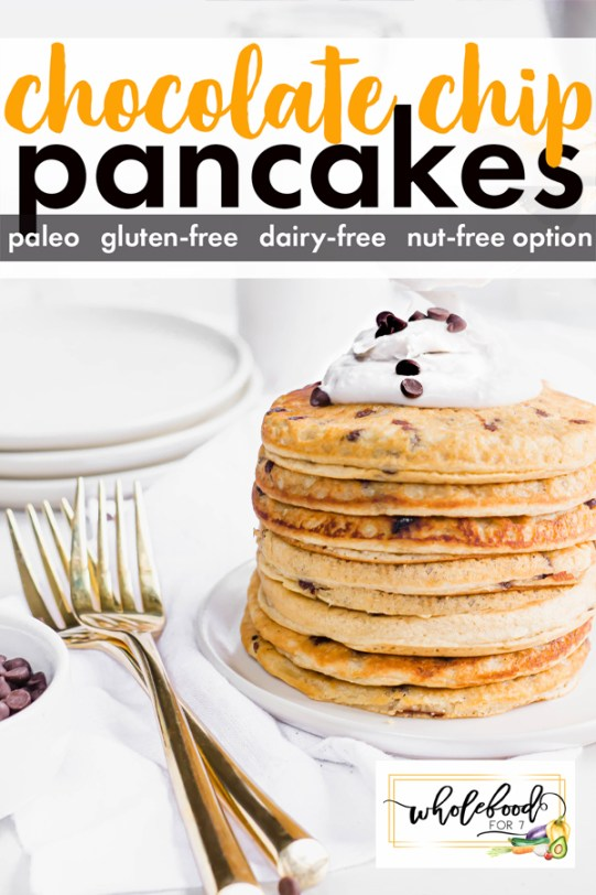 Paleo Chocolate Chip Pancakes - Gluten-free, dairy-free, with nut-free option. Kid-friendly and freeze great!