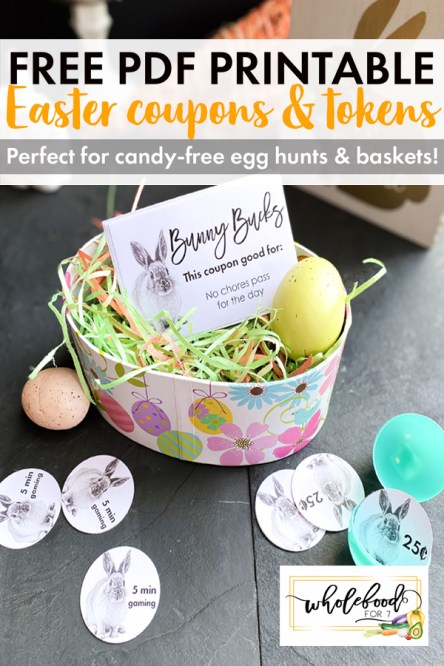 FREE PDF Easter Printable - Coupon Books and Easter egg hunt tokens. Perfect for candy-free Easter Baskets and hunts!