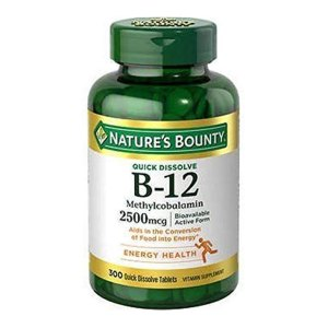 Nature's Bounty Quick Dissolve Fast Acting 2500 mcg Vitamin B-12 Methylcobalamin Natural Cherry Flavor (300 tablets)