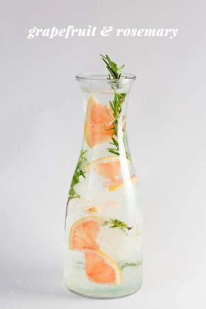 Grapefruit and rosemary healthy infused fruit water from Wholefully