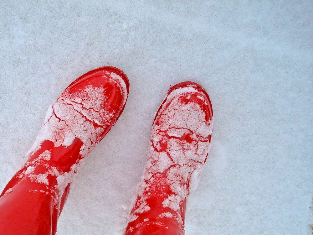red rubber boots snow
